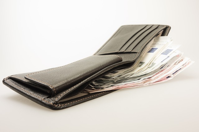 peněženka se spoustou peněz